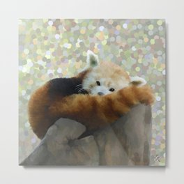 Tired Red Panda Metal Print