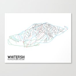 Whitefish, MT - Minimalist Trail Art Canvas Print