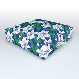 Japanese Yuri Lily Flowers Seamless Patterns Symbols Outdoor Floor Cushion