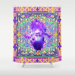 French Fleur de Lys Purple Iris Frankophile Design Shower Curtain