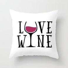 Love Wine Quote Throw Pillow