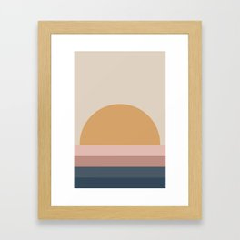Neutral 70's Minimal Sunset Framed Art Print
