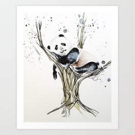 Panda in the Tree Art Print