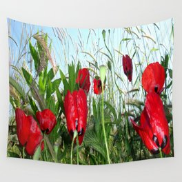 Landscape Close Up Poppies Against Morning Sky Wall Tapestry