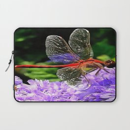 Red Dragonfly on Violet Purple Flowers Laptop Sleeve