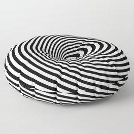 Vortex, optical illusion black and white Floor Pillow