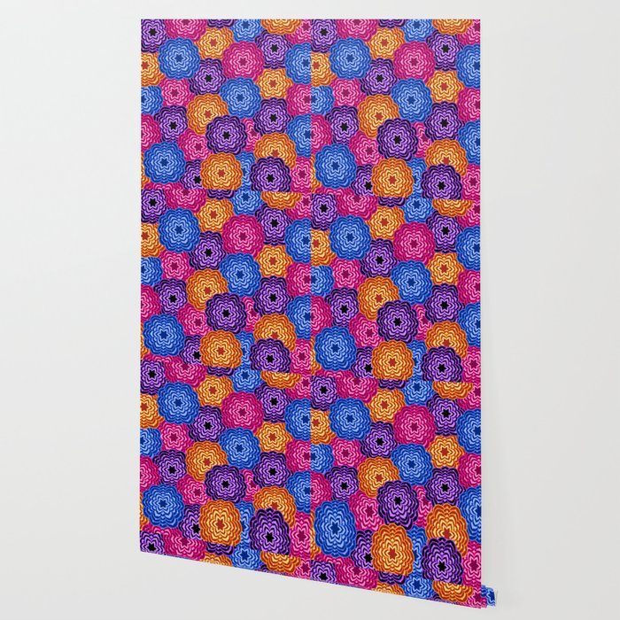 Dahlia Rainbow Multicolored Floral Abstract Pattern Wallpaper