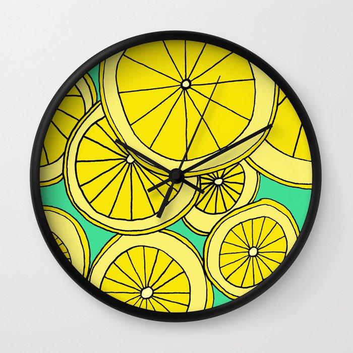 Lemons by Emma Freeman Designs Wall Clock