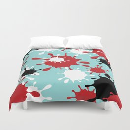 Paint Splatter-Blue+Red+Black Duvet Cover