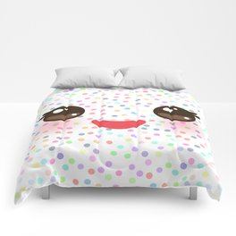Kawaii funny muzzle with pink cheeks and eyes on white polka dot background Comforters