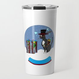 A Snow Globe with a Steampunk Kitty Travel Mug