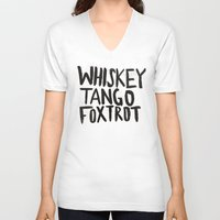 whiskey V-neck T-shirts featuring Whiskey Tango Foxtrot by Leah Flores