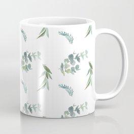 Green leaves olive eucalyptus pattern white Coffee Mug