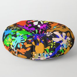 Colourful Fun Paint Blots and Stains Floor Pillow