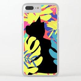 Tropical cat Clear iPhone Case
