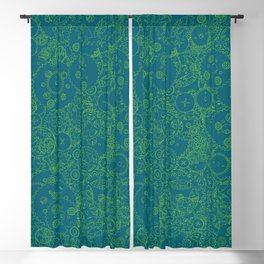 Clockwork Turquoise & Lime / Cogs and clockwork parts lineart pattern Blackout Curtain