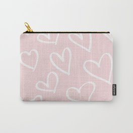 Pink & White-Love Heart Pattern-Mix & Match with Simplicty of life Carry-All Pouch