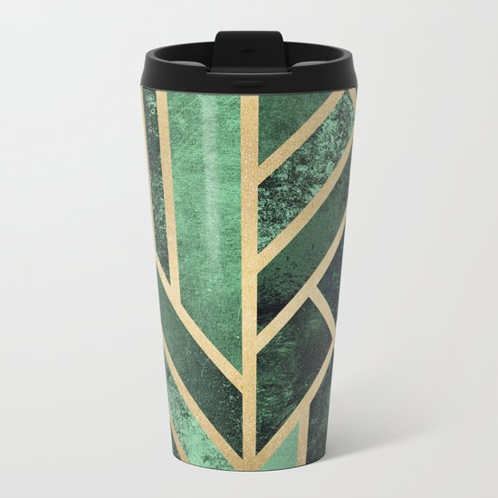 Art Deco Emerald Metal Travel Mug