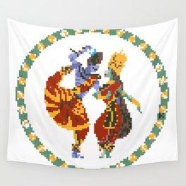Shiva Parvati Pixel Art Wall Tapestry