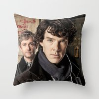 sherlock Throw Pillows featuring Sherlock  by SB Art Productions
