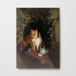 Mama Cat with Kittens Metal Print