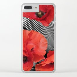 fractal poppies Clear iPhone Case