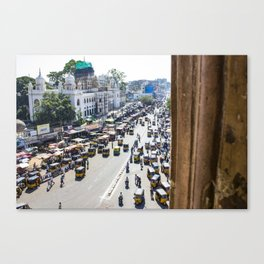 View of the Busy Roads from the Charminar in India Canvas Print