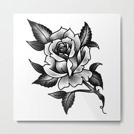 Black and Grey Rose Metal Print