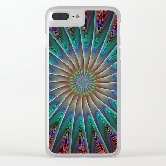 Peacock fractal Clear iPhone Case