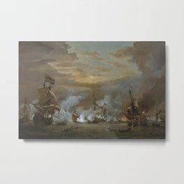 Willem van de Velde the Younger - The Battle of the Texel, 11-21 August 1673 Metal Print