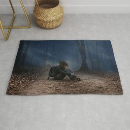 Depressing Lonely Backpack Girl Solo Forest Ground Rainy Day Ultra HD Rug