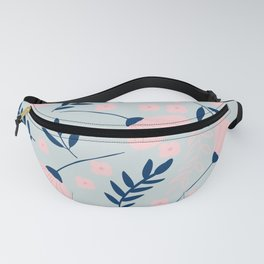 Blush Pink and Navy Floral Pattern Fanny Pack