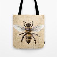 bee Tote Bags featuring Bee by Paper Skull Studios