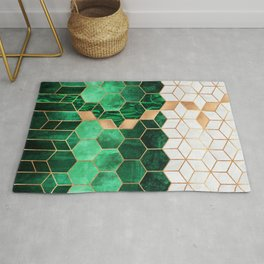 Emerald Cubes And Hexagons Rug