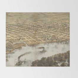 Vintage Pictorial Map of La Crosse WI (1867) Throw Blanket