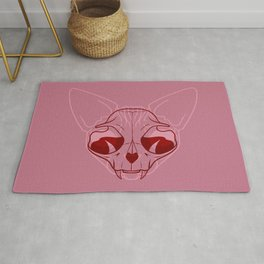 Pink and Red Sphynx Cat Skull - Hairless Kitty Double Exposure Overlay - Line Art Rug