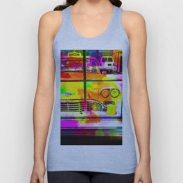 yellow classic taxi car with colorful painting abstract in pink orange green Unisex Tank Top