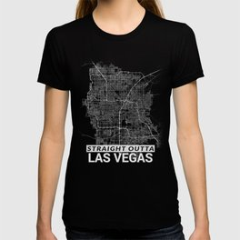 Straight Outta Las Vegas Nevada City Map Tee T-shirt