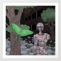 laputa Art Prints featuring almost human by Justin McElroy