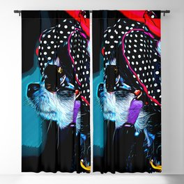 classy chihuahua dog lady vector art moonlight Blackout Curtain