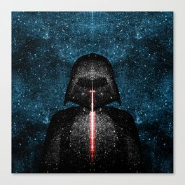 Darth Vader with Lightsaber in Galaxy Canvas Print