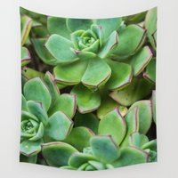 succulents Wall Tapestries featuring Succulents by Michelle McConnell