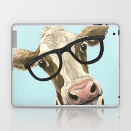Cute Glasses Cow Up Close Cow With Glasses Laptop & iPad Skin