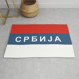 serbia srbia flag cyrillic name text Rug
