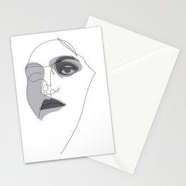 one line portrait - noir Stationery Cards