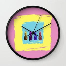 Hot Summer Juicy Fruit Pineapples Wall Clock