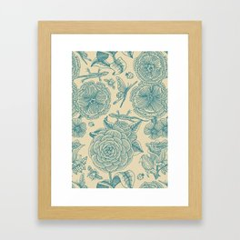 Garden Bliss - in teal & cream Framed Art Print