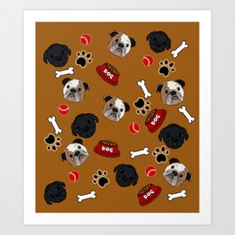Dogs lovers bulldog and cat Art Print