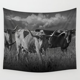 Texas Longhorn Steers under a Cloudy Sky in Black & White Wall Tapestry