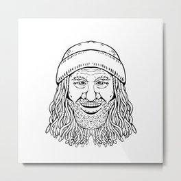 Rastafarian Dude Head Front Drawing Black and White Metal Print